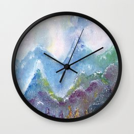 Forest of Light Watercolor Illustration Wall Clock