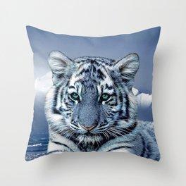 Blue White Tiger Throw Pillow