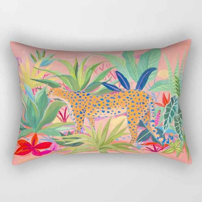 Leopard in Succulent Garden Rectangular Pillow