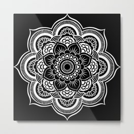Mandala Black & White Metal Print