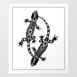 Tangled Geckos on White Art Print