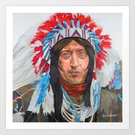 Blue Eyed Crowe Native American Painting Art Print