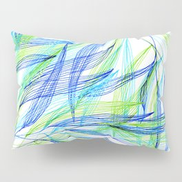 Underwater Forest #2 -Line drawing leaves Pillow Sham