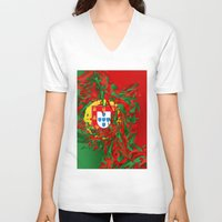portugal V-neck T-shirts featuring Portugal by Danny Ivan