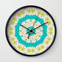 coasters Wall Clocks featuring White Daisies on Turquoise Background by Lena Photo Art