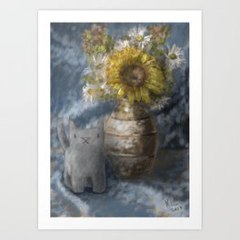Small Grey Cat and Still Life Art Print