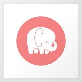 Mod Baby Elephant Coral Art Print