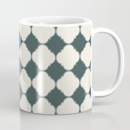 Ornamental Moroccan Alpaca Wool Cream & Night Watch Tile Pattern with Scarborough Green Border Coffee Mug