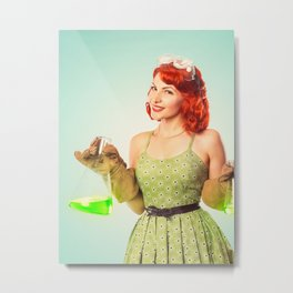Distractingly Sexy Scientist Pinup Metal Print