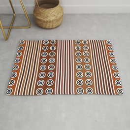 Geometric Multi Earth Tones Color Modern Vertical Stripes & Circles Rug