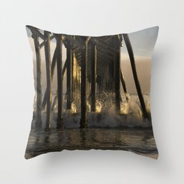 Under the California Pier Throw Pillow