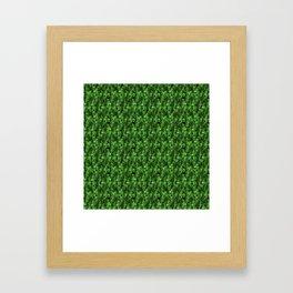 Green and Black Scary Spooky Skeleton Bone Human Head Skulls Framed Art Print