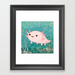 Axolotl baby kawaii Framed Art Print
