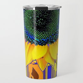 Surreal Sunflower Eye in Purple-green-black Abstracted Designs Travel Mug