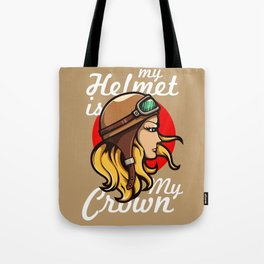 My Helmet is my Crown Tote Bag