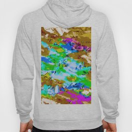 psychedelic splash painting abstract texture in brown green blue pink Hoody