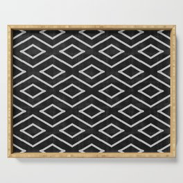 Stitch Diamond Tribal Print in Black and White Serving Tray