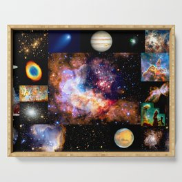 Space Galaxy Nebula Collage Serving Tray