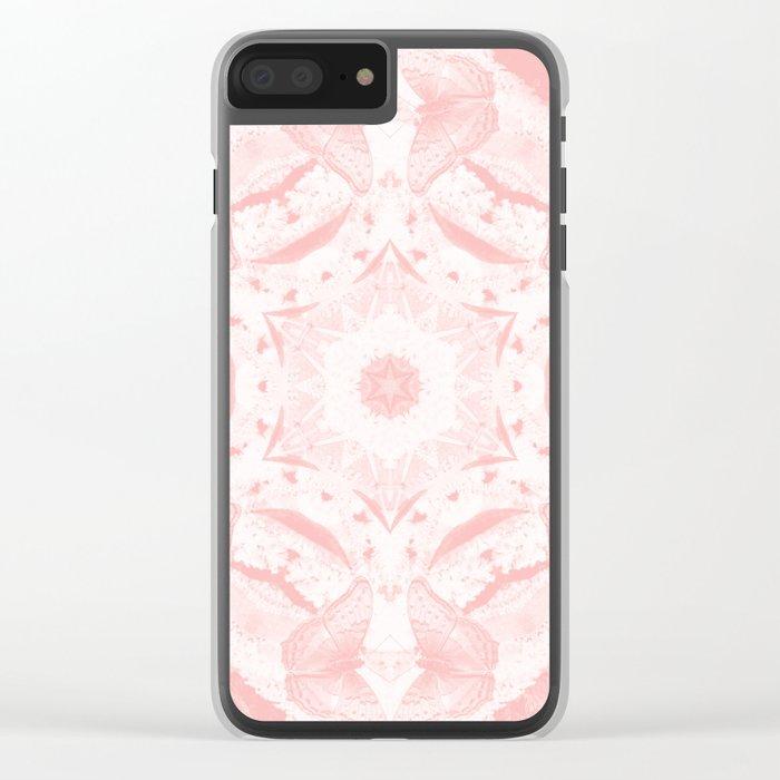 Kaleidoscope of butterflies in rose quartz Clear iPhone Case