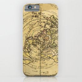 North Pole Centered World Map (1756) iPhone Case
