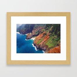 Na Pa Li Coast Aerial View, Kauai, Hawaii Framed Art Print