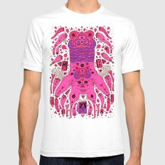 pink worm neck White Mens Fitted Tee SMALL
