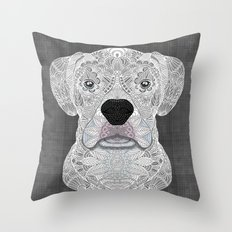 White Boxer Throw Pillow