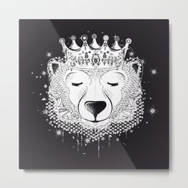Polar bear with crown Metal Print