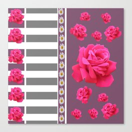 MODERN  PINK ROSES ON PUCE COLOR ART Canvas Print