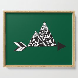 Tribal Mountains in Green Serving Tray