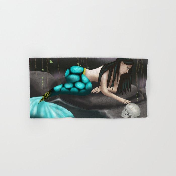 Mermaid Playing with Skull Hand & Bath Towel