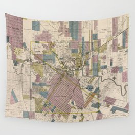 Vintage Map of Houston Texas (1895) Wall Tapestry