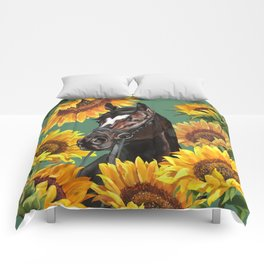 Horse with Sunflowers Comforters