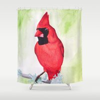 cardinal Shower Curtains featuring Cardinal by ByKellyAttenborough