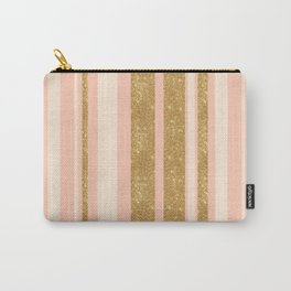 Pink, Gold Sparkle, and White Stripe Carry-All Pouch