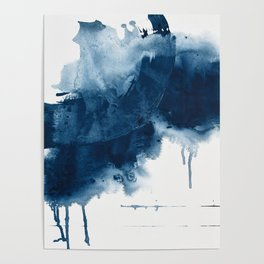 Where does the dance begin? A minimal abstract acrylic painting in blue and white by Alyssa Hamilton Poster