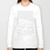 grid Long Sleeve T-shirts featuring Abstract Outline Grid Grey by Project M