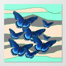 INDIGO BLUE BUTTERFLIES TURQUOISE SKIES Canvas Print