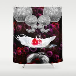Lapping At Moon Cream Shower Curtain