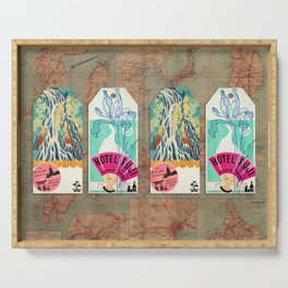 Label Fables, Japan I :: Fine Art Collage Serving Tray