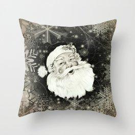 Vintage Santa Claus with snowflakes Throw Pillow