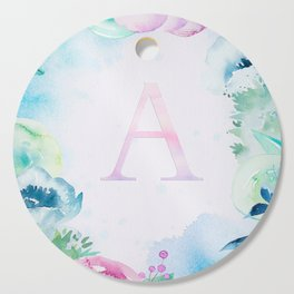 Dreamy Watercolor Flowers Monogram Art Cutting Board