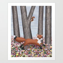 fox and squirrel Art Print