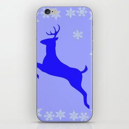 DECORATIVE LEAPING CHRISTMAS  BLUE DEER & SNOWFLAKES iPhone Skin