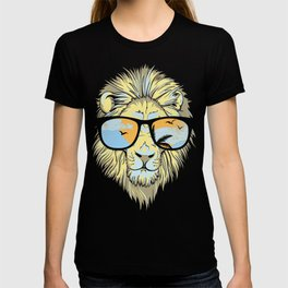 Stylish Lion Design with Moroccan Leather background T-shirt