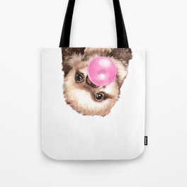 Baby Sloth Playing Bubble Gum Tote Bag