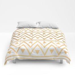 White & Gold Chevron Pattern Comforters