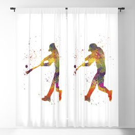 Baseball player isolated 01 in watercolor Blackout Curtain