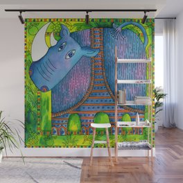 Patterned Rhino Wall Mural