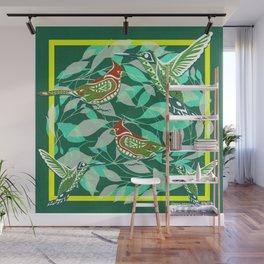 Green Bird lovers ecopop Wall Mural